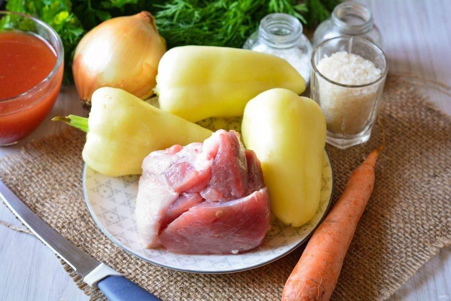 """Подготовьте ингредиенты для приготовления фаршированных перцев """"Как у бабушки""""."""