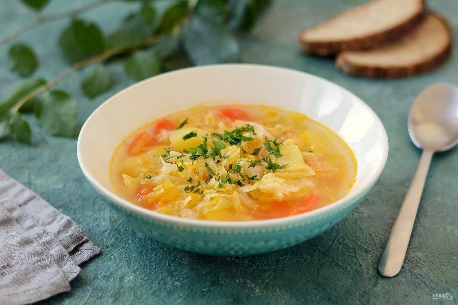 Щи из савойской капусты готовы, приятного вам аппетита!