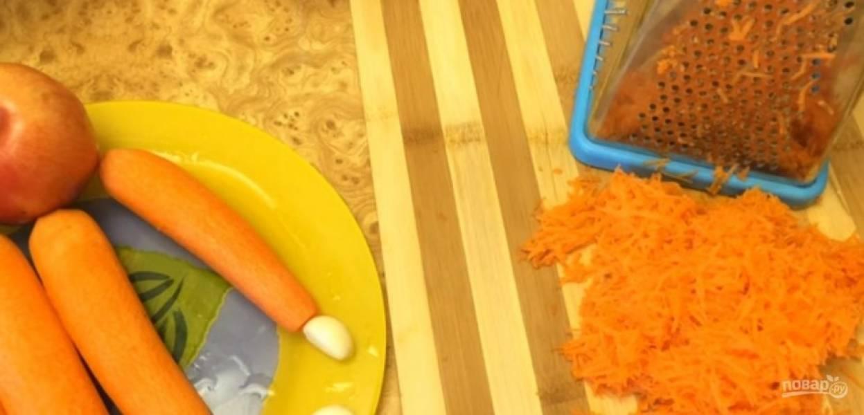 1. Морковь промойте, очистите и натрите на мелкой терке. Чеснок очистите и также натрите на мелкой терке, желательно по очередности с морковью.