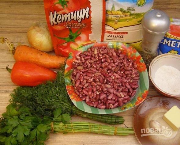 1. Это блюдо я всегда готовлю на постный стол, и получается оно очень вкусным. Фасоль можно брать консервированную (так быстрее), но лучше сырую.