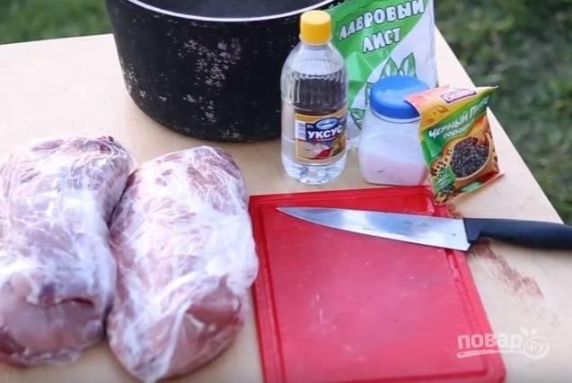 1. Желательно замариновать мясо и оставить его на ночь. Но если вы отправляетесь на природу спонтанно и у вас есть 4 часа запасного времени, воспользуйтесь моими советами. Итак, для шашлыка нам понадобится свиная шея.