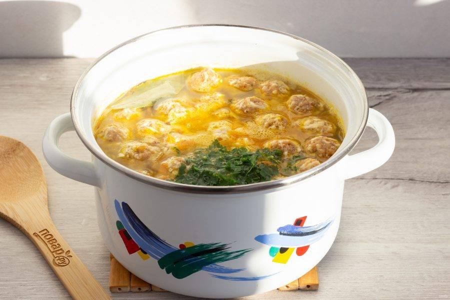В последнюю очередь добавьте рубленную петрушку, кусочки куриного филе и лавровый лист. Поварите ещё 2-3 минуты и можно выключать.