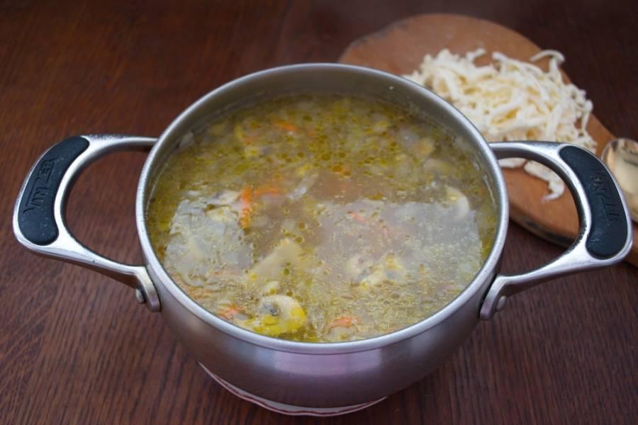 Когда картофель будет почти готов, добавьте в кипящий суп натертый на терке плавленый сыр. Хорошо размешайте и дайте покипеть 5 минут. Добавьте соль, специи.  Если овощи готовы-можно выключать.