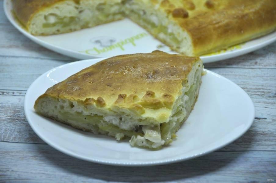 Пирог получился очень вкусным, с томленой картошкой, со сливочным вкусом и нежнейшей рыбой. Очень рекомендую приготовить, семья будет довольна!