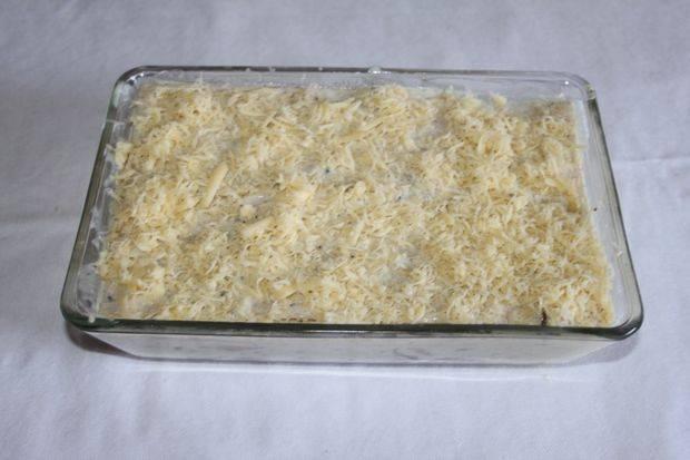 Последний слой - оставшаяся часть сыра.