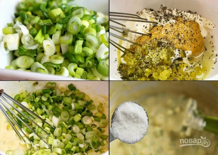 2. За это время вы как раз успеете подготовить все остальное: смешаем майонез, уксус и горчицу, добавим туда же измельченный лук, сельдерей, оливки, зелень и редиску. Специи кладем по вкусу.