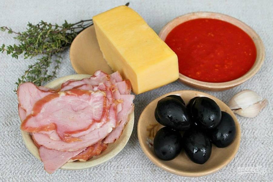 Ингредиенты для пицетты с ветчиной.