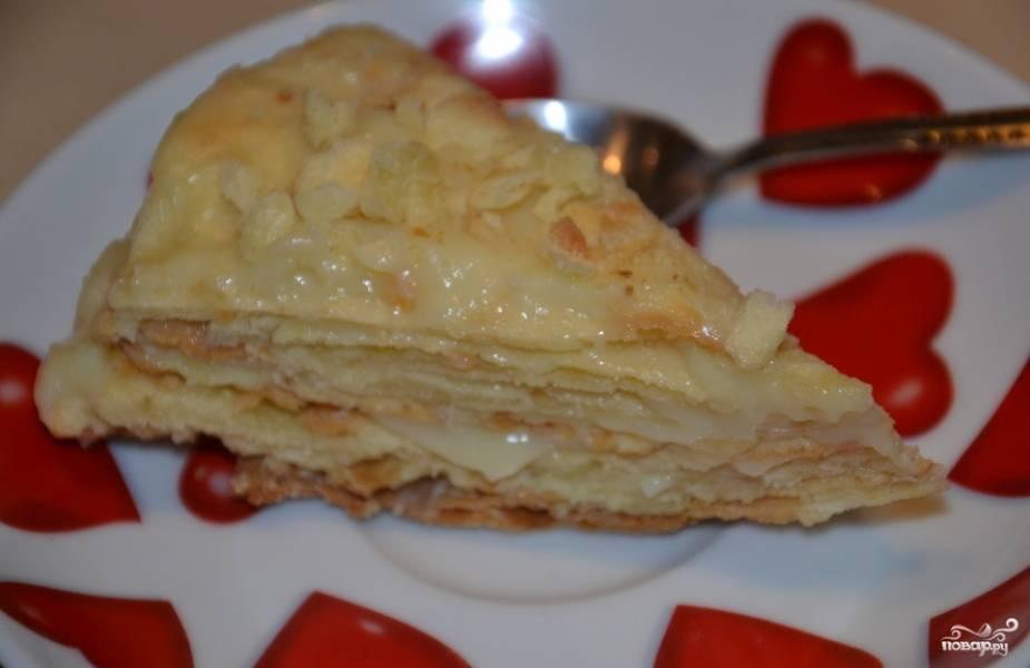 Ставим торт на ночь в холодильник для хорошей пропитки. Приятного аппетита!