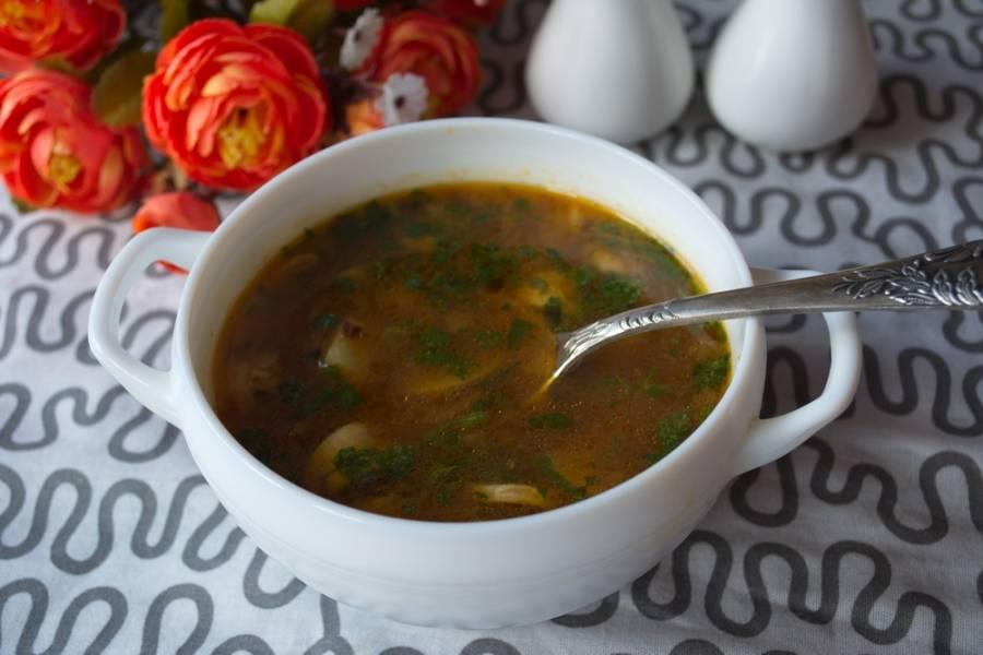 Разлейте суп по тарелкам и подайте к столу.