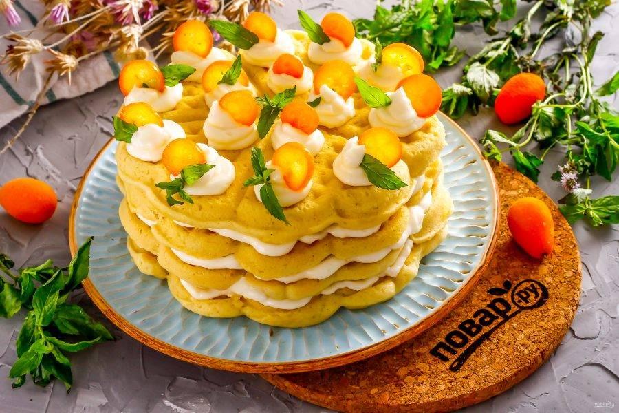 Украсьте десерт по своему вкусу фруктами и мятой, подайте его к столу с чаем, кофе.