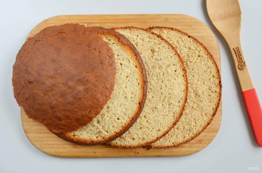 Остывший бисквит разрежьте на 3 коржа. Верхушку аккуратно срежьте.