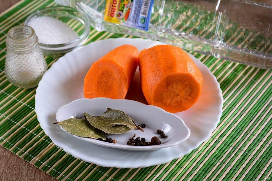 Подготовьте ингредиенты по списку для приготовления закатки из моркови.