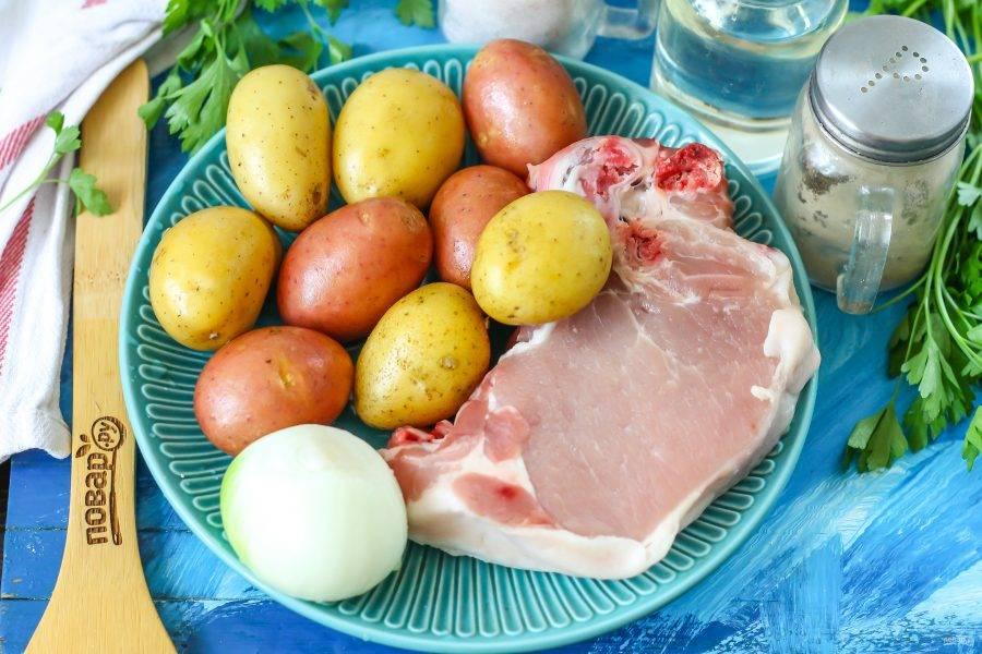Подготовьте указанные ингредиенты. Желательно приобрести свиную мякоть, но можно и срезать ее с других частей тушки.