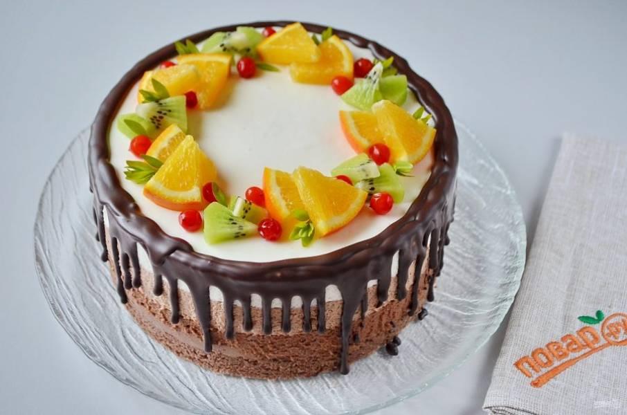 34. Украсьте любыми сезонными фруктами и торт готов! Угощайтесь!