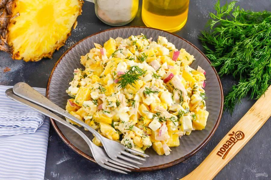 Салат с цесаркой с ананасом
