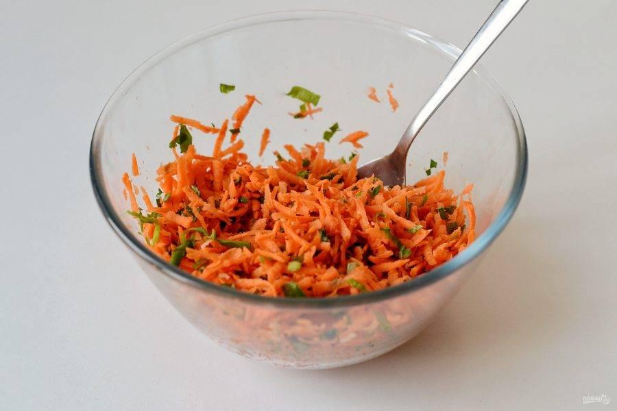Морковь натрите на терке, петрушку мелко порубите, чеснок пропустите через пресс. Поперчите, перемешайте.