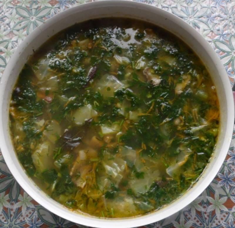 Ножом измельчаем зелень и чеснок, добавляем в суп. Варим 5 минут, помешивая.