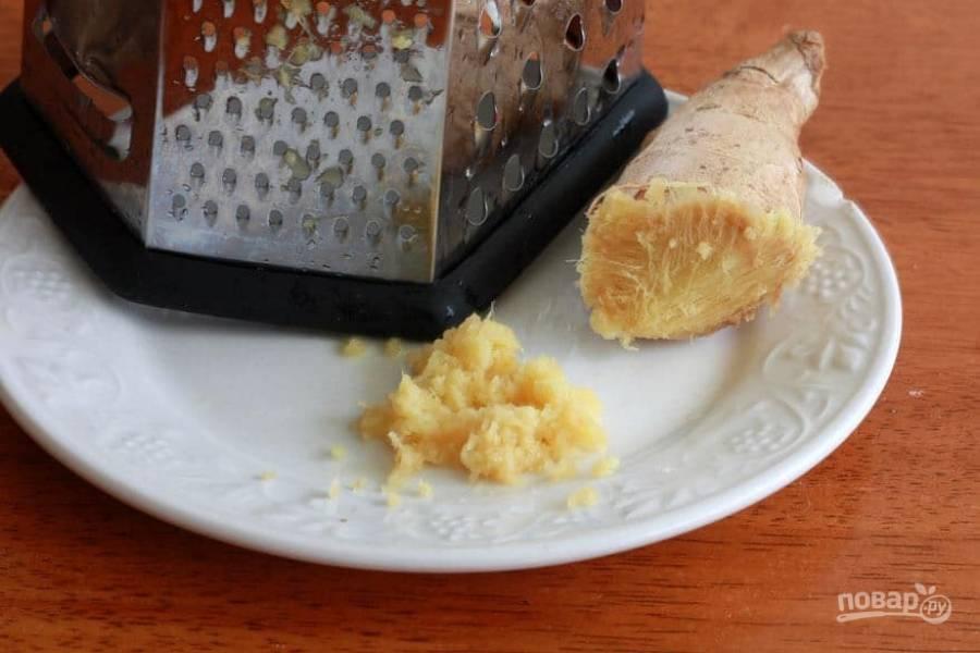 9.Очистите корень имбиря и натрите его на терке, нужно 2 чайные ложки.