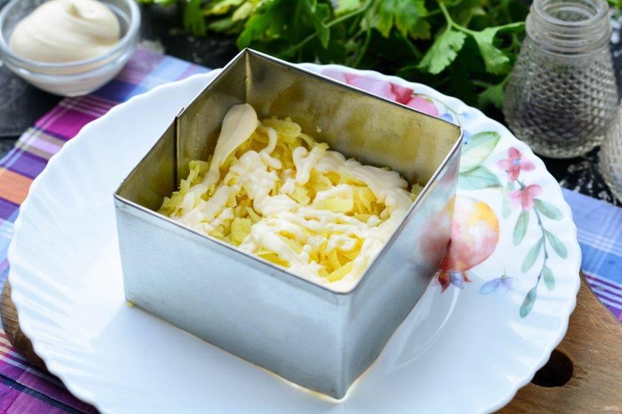 Выложите салат слоями. Первый слой — картофельный. Картошку посолите и поперчите по вкусу, полейте майонезом.