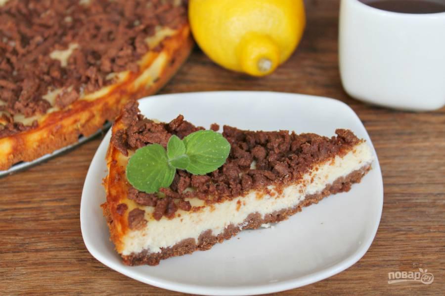 Тертый шоколадный пирог с творогом