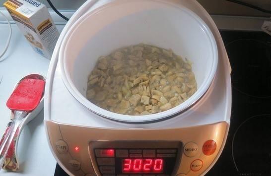 В растопленное масло добавьте шампиньоны и лук. Они должны пустить сок.