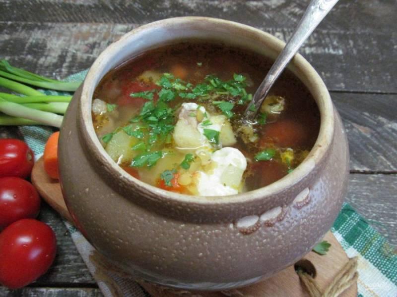 Готовый суп посыпьте зеленью.