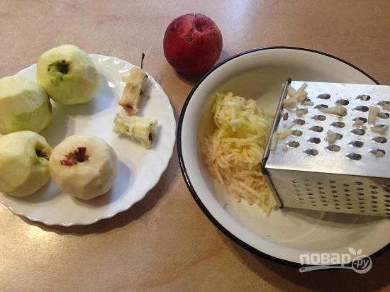 1. Очистим яблоки и натираем на крупной терке. Если яблоки очень сочные - отжимаем немного сок. А к яблочной мякоти добавим сахар, лимонную цедру и сок. Перемешиваем.