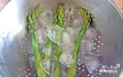 Отваренную спаржу выкладываем на лед чтобы сохранить цвет ростков.
