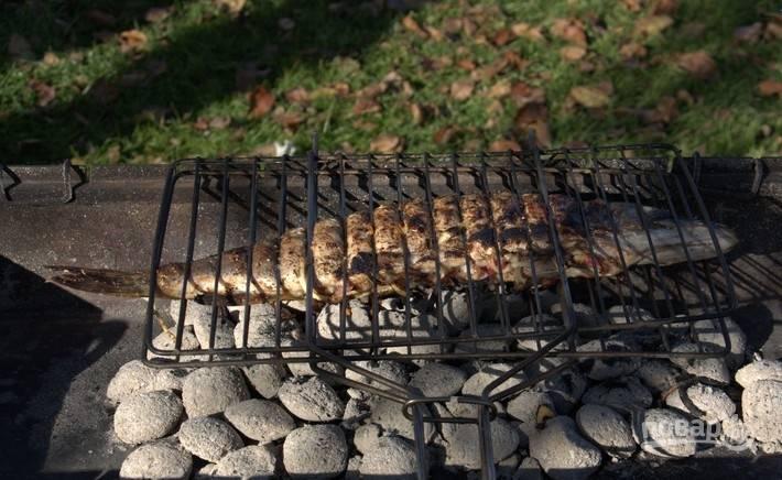Жарьте рыбу на мангале около 25 минут, переворачивая её, чтобы она подрумянилась со всех сторон. Приятного аппетита!