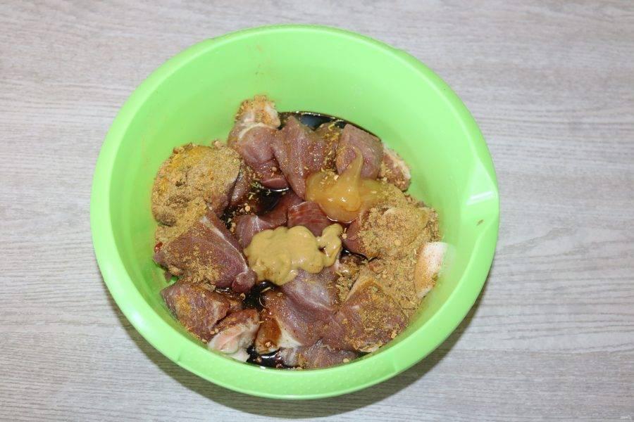 Мясо выложите в миску. Добавьте мёд, горчицу, специи, бальзамический уксус, масло.