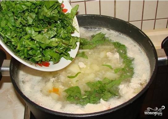 8. Выложите его в кастрюлю. Щавель на курином бульоне в домашних условиях должен провариться минут 5. Яйца взбейте в глубокой тарелочке вилкой. Медленно влейте их в суп. Перемешайте. Проварите все вместе минут 5, а затем выключайте огонь. Подавайте супчик с ложкой сметаны (порционно её раскладываем по тарелочкам).