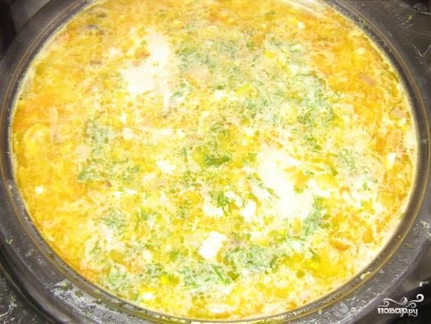 Теперь выкладываем в бульон вначале обжаренные овощи, пусть покипят 5-7 минут, а затем добавляем сыр. Варим еще пару минут, пока сыр полностью не раствориться в супе. Посыпаем измельченным укропом, солим и перчим. Готовый суп подавать, украсив сухариками. Приятного вам аппетита!