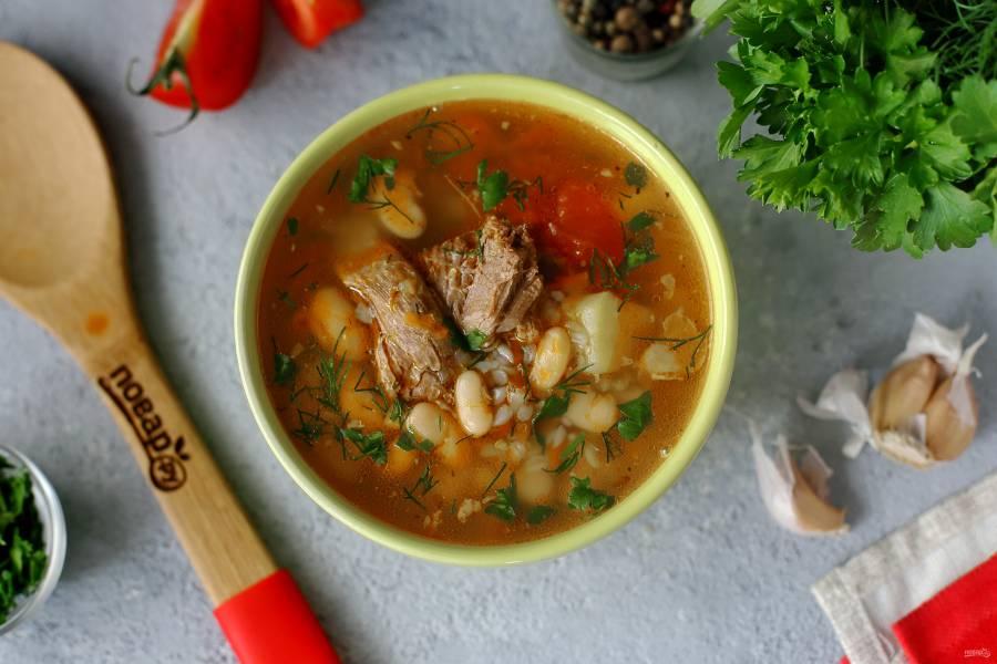 Суп с гречкой и фасолью