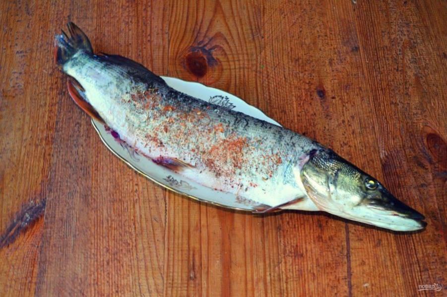 Со всех сторон натрите солью и немного специями для рыбы.