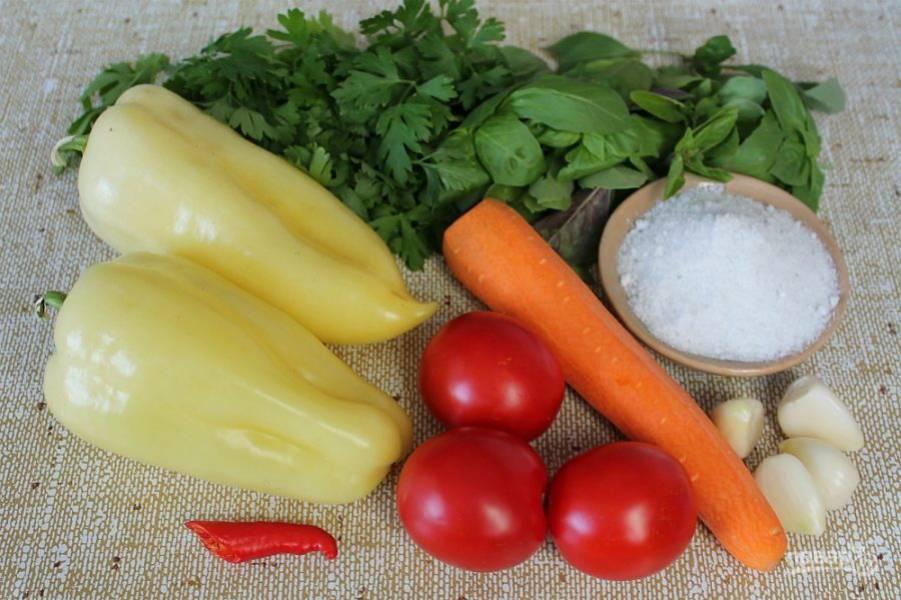 Подготовим ингредиенты. Овощи и зелень моем и просушиваем на полотенце.