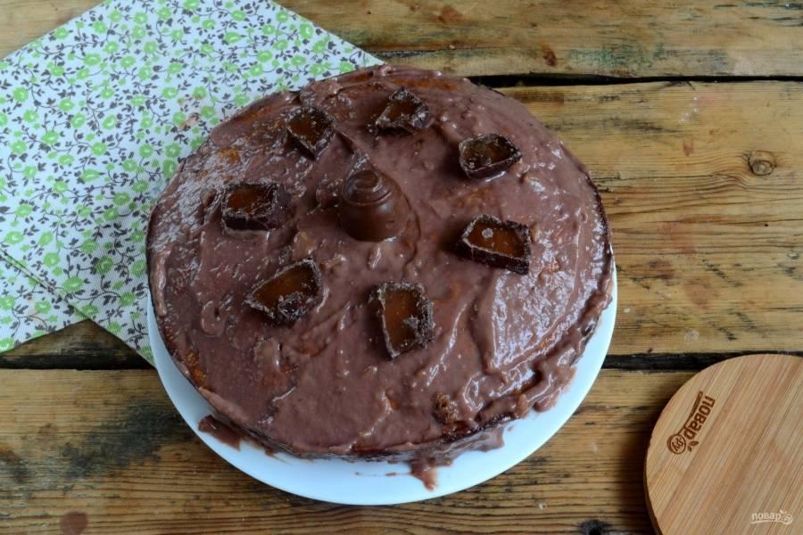 Торт готов. Его можно подавать сразу же после приготовления. Приятного чаепития!