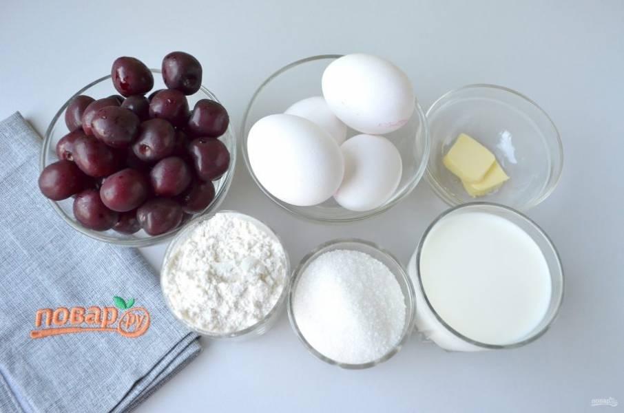 1. Подготовьте продукты. Черешню промойте под проточной водой, переберите ягоды, удалите косточки.