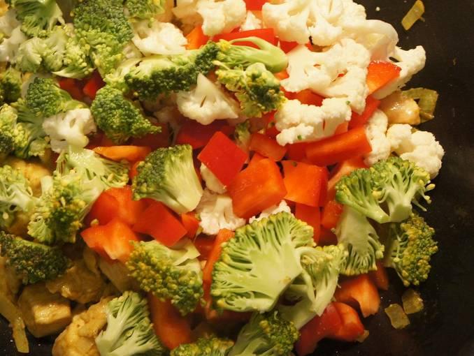 2. Затем добавим овощи, нальем соус и воду. Тушим до готовности курицы.