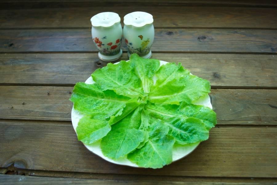 Салатные листья вымыть от песка. Обсушить бумажным полотенцем и выложить на тарелку.