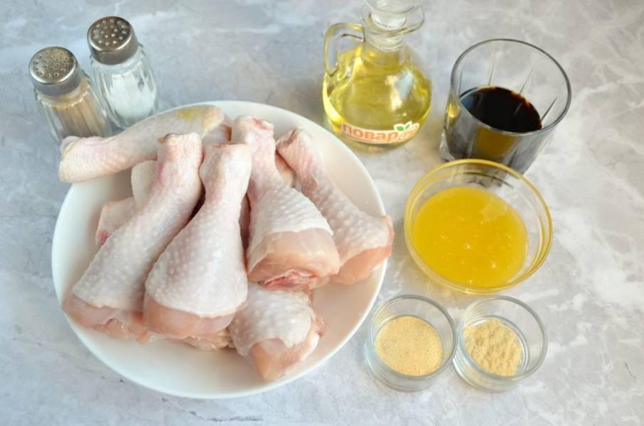Подготовьте ингредиенты. Ножки тщательно вымойте, удалите желтую грубую кожицу с суставов.