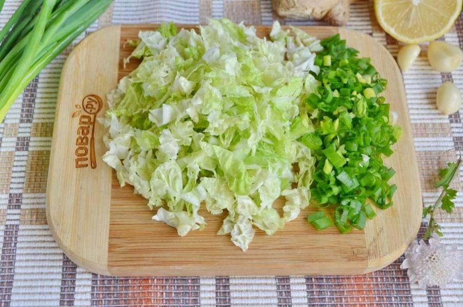 Вымойте лук и капусту, очень мелко нашинкуйте. Твердую часть капустных листов нужно срезать.