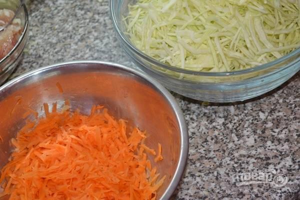 1.Лук чищу от шелухи и мою, затем измельчаю его тонкими полукольцами, морковку чищу и мою, натираю на крупной терке. Мясо мою и нарезаю небольшими кусочками, капусту мою и мелко шинкую.
