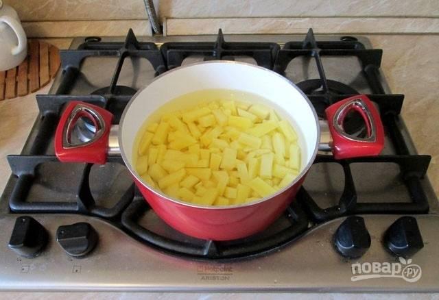 2. Картофель вымойте, очистите, нарежьте небольшими кубиками и отправьте в кастрюлю. Залейте водой и поставьте на огонь.