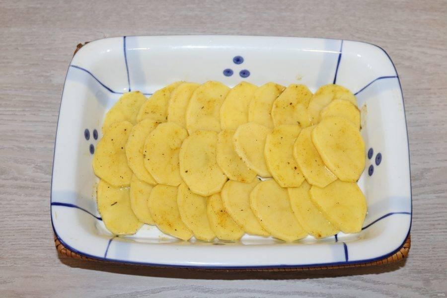В форму для запекания выложите слой картофеля.