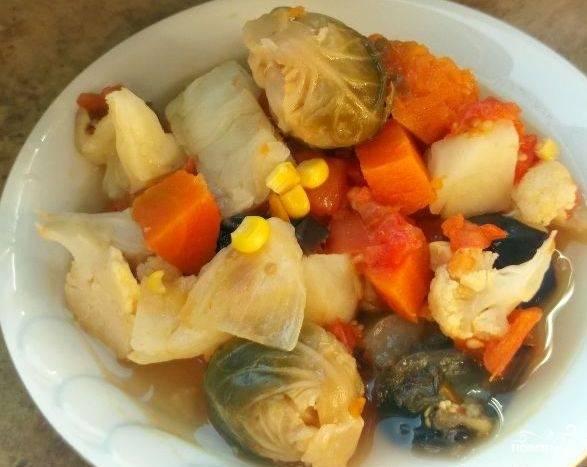Тушеная тыква с овощами