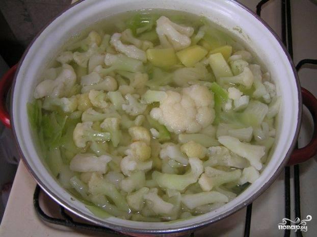 1. Порежьте белокачанную капусту, закипятите полкастрюли воды, посолите и отправляйте туда капусту. Почистите, помойте, нарежьте небольшими кубиками картошку и - в кастрюлю! Если будете использовать цветную капусту, нарежьте и также добавьте ее в кастрюлю, когда картошка и белокачанная капуста станут мягкими.