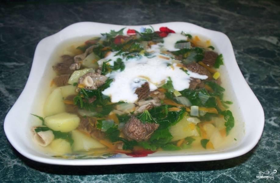 9.Наш суп из сморчков готов! Подаем к столу со сметаной, предварительно украсив зеленью. Приятного аппетита!