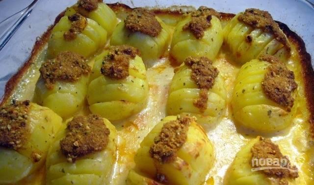 В небольшой пиалке смешайте панировочные сухари, дробленые орехи, сливочное масло и паприку. За десять минут до готовности картофеля выложите эту смесь на каждый клубень. Дождитесь, пока картофель подрумянится, и подавайте его к столу, пока он не остыл.