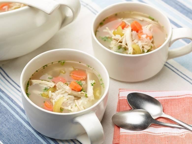 Вкусный суп на курином бульоне