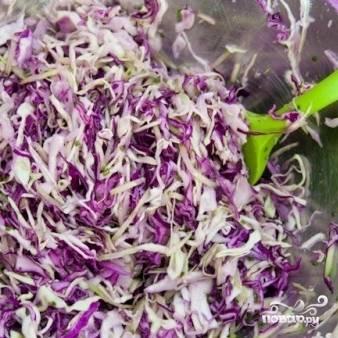 Выкладываем измельченные овощи в салатницу, заправляем подсолнечным маслом, уксусом и солью. Хорошенько перемешиваем.